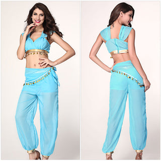 Top Quality Arabian Princess Jasmine Aladdin Costume Adult Women Halloween Cosplay Sexy Belly Dance Dress - Deals Blast