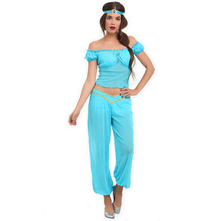 Top Quality Arabian Princess Jasmine Aladdin Costume Adult Women Halloween Cosplay Sexy Belly Dance Dress Plus Size S-XXL - Deals Blast