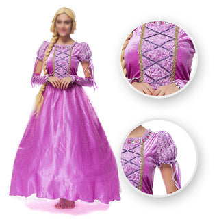 Movie Tangled Rapunzel cosplay costume Princess Rapunzel Dress for adults women Free shipping - Deals Blast