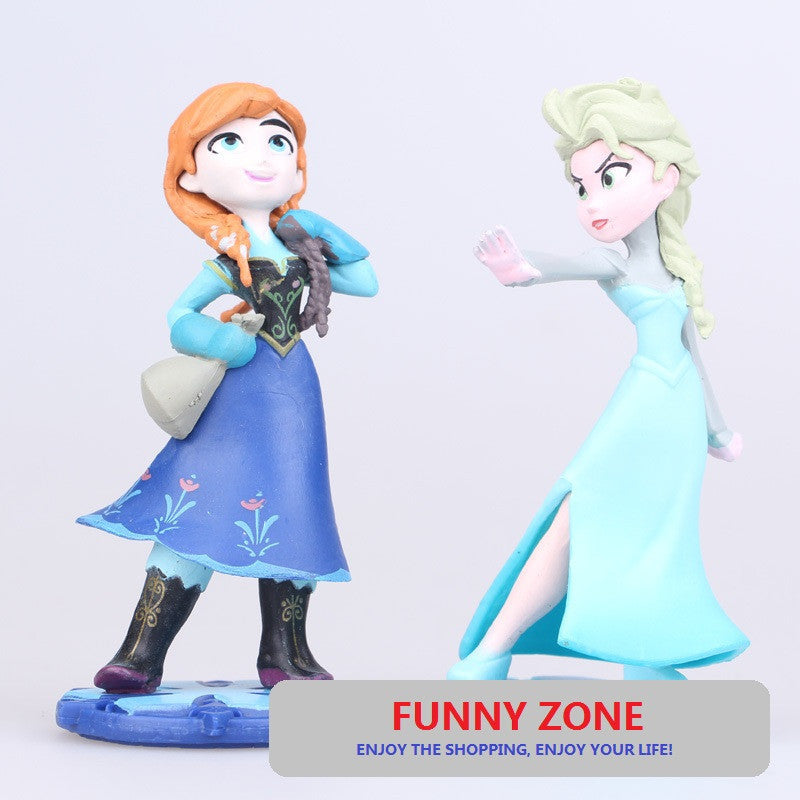 2 pcs/set Kids my cute little Anna and Elsa and castle Set figures Toy Action dolls poni for children birthday gift doll - Deals Blast