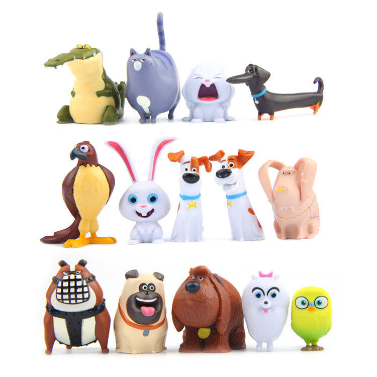 14pcs/lot Cartoon Pets Figure Rabbit Dog Kids Toys Pets Action Toy Figures Christmas Little Gift - Deals Blast