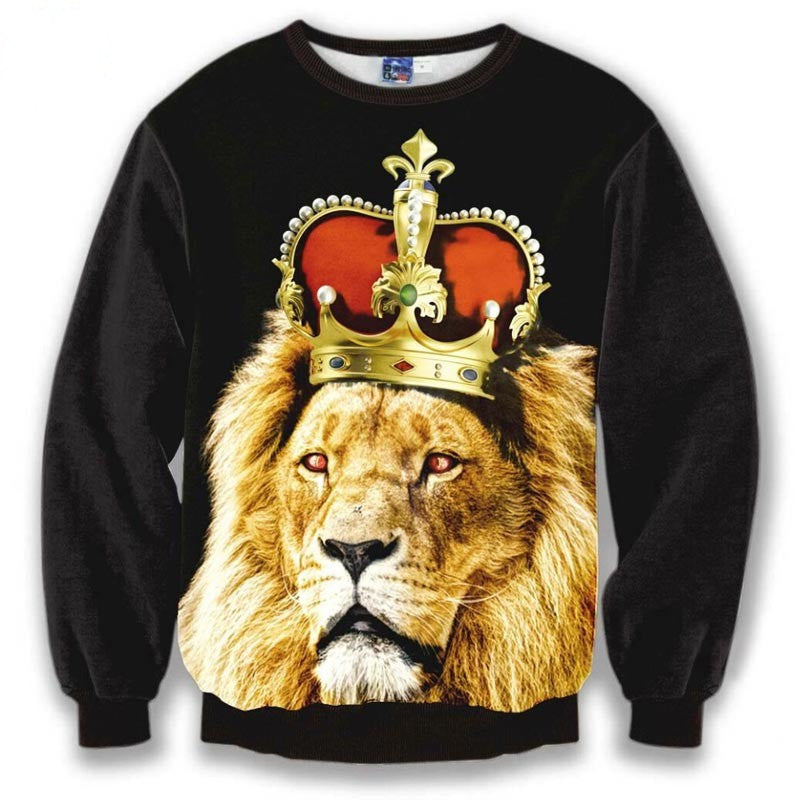 Golden Crown print sweatshirt men tops autumn 3d hoodies printed Lion King fashion pullovers Asia S-XL: Deals Blast