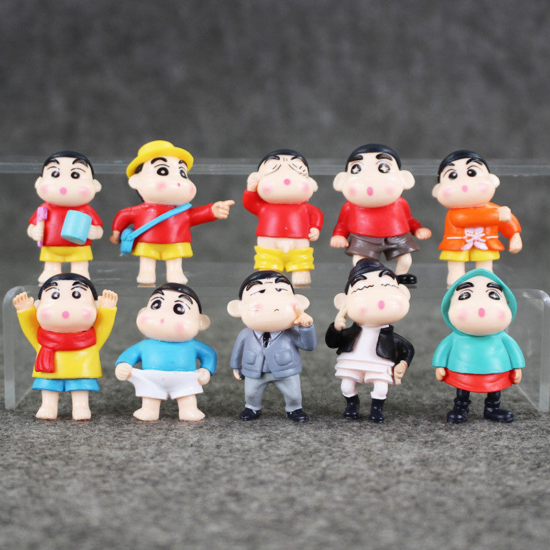 10Pcs/set Anime Cartoon Crayon Shin Chan PVC Action Figure Collection Model Doll Toys 4-5cm Approx Retail - Deals Blast