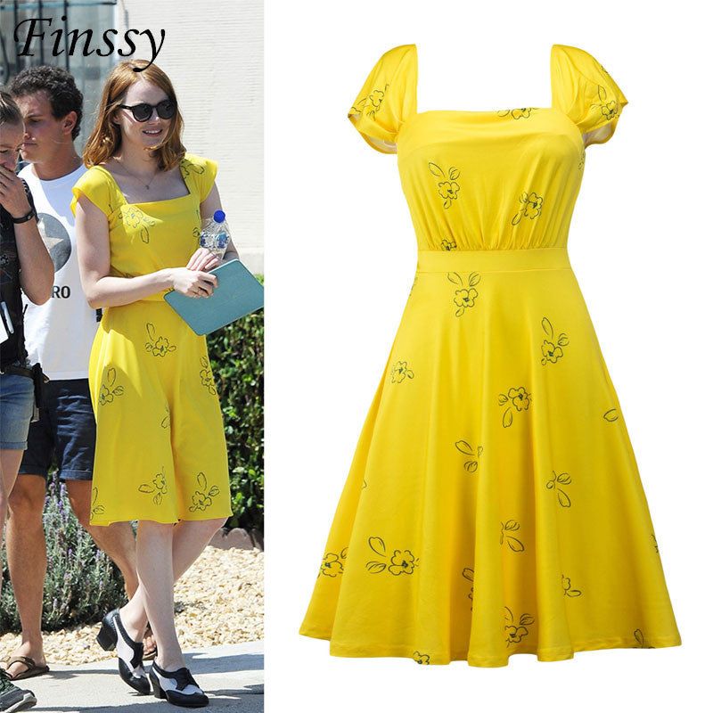 2017 Don't Forget Movie La La Land Hi-Res Yellow Summer Dress La La Land Cosplay Costume for Women Party Dresses - Deals Blast