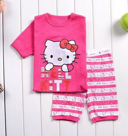 2 pieces sets girls boys 100% cotton Hello Kitty baby pajamas kids Despicable Me short-sleeved top+pants minnie pajama: Deals Blast