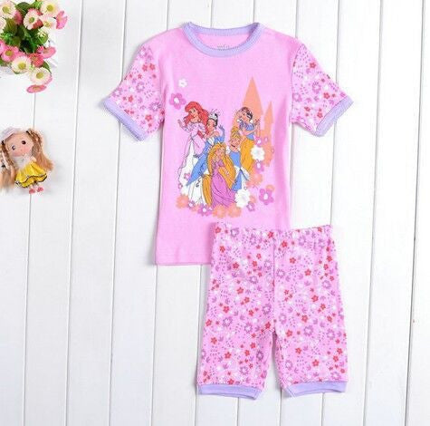 2 pieces sets girls boys 100% cotton Hello Kitty baby pajamas kids Despicable Me short-sleeved top+pants minnie pajama - Deals Blast