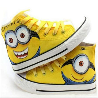 boy tenis girl trainer Brand Fashion Kids Minion Sneakers High-top Children's Canvas Shoes Despicable Me Girls Casual Shoe: Deals Blast