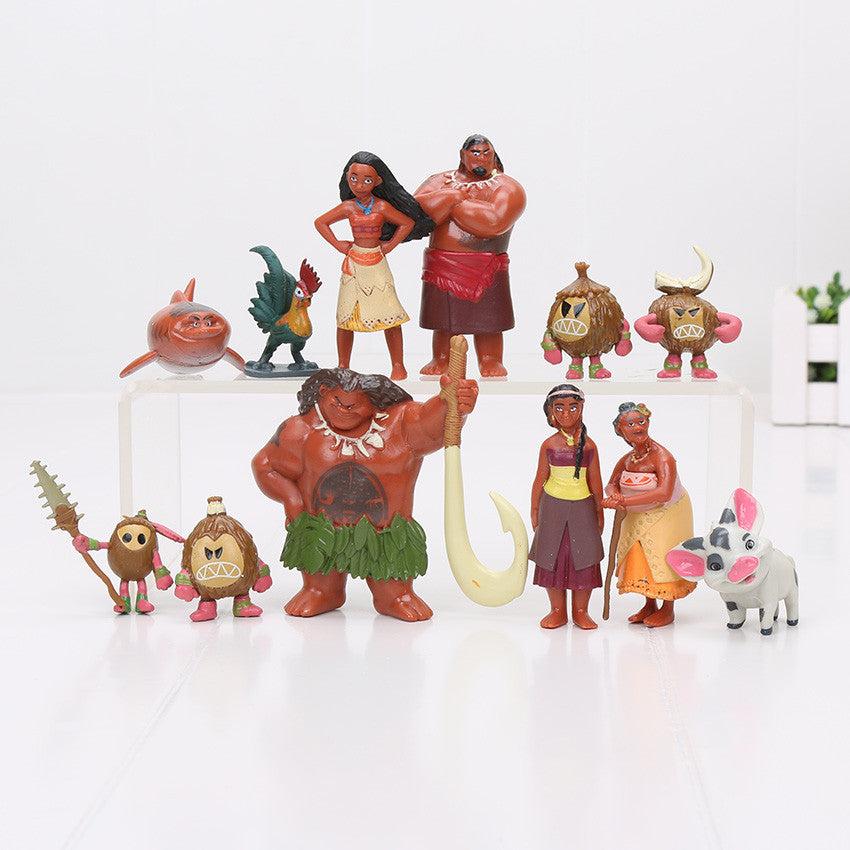 12Pcs/Set Moana Action Figures Toys Heihei Tamatoa Chief Tui Sina Tala Gift Doll Plastic Action Figures Anime Toys Gift: Deals Blast