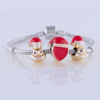 Top Grade Christmas Emoji Bead Charm Bracelet Heart Bead Gold Color Men jewelry fit Pan Bracelet for Women DIY Jewerlry Gift - Deals Blast