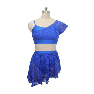 Girls Ladies Modern Dress 2 Pieces Latin Dress Lace Overlay Camisole Top and Skirts Lyrical Performance Dance Costumes - Deals Blast