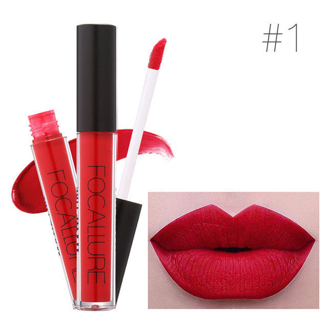 1Pc Hot Batom Matte Lipstick Lip gloss Red Velvet Waterproof Long-Lasting Liquid Lip Sexy full Lips Makeup Brand FOCALLURE - Deals Blast