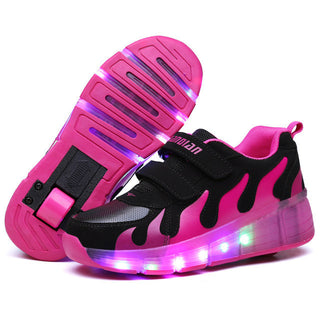 Child Jazzy wheels, Junior Girls/Boys LED Light wheels, Children Roller Skate Shoes, Kids Luminous Sneakers With Single Wheels - Deals Blast