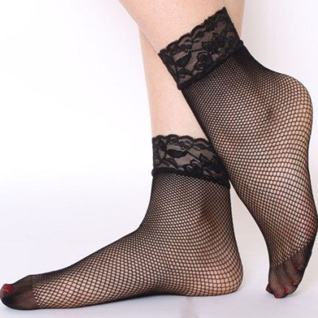 1 pair  Women Girls Ladies Soft Sexy Lace Floral Short Ankle Fishnet Socks Sales Well - Deals Blast