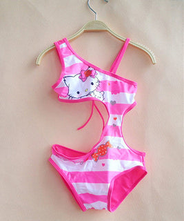New Summer Style Girls Swimsuit Children Swimwear Kids One Piece Swimming Suit Hello Kitty Beach Wear SW014XIN-CGR1 - Deals Blast
