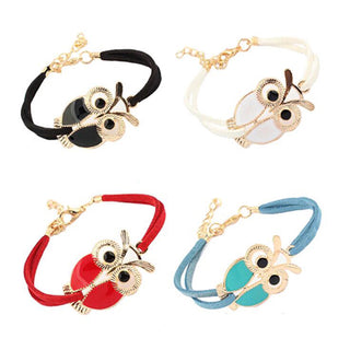 Tomtosh New Hot. Minimum. 1 PCS. New female retro jewelry owl animal imitation leather bracelet for Christmas New Year gift: Deals Blast