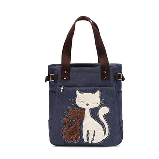 Cute cat women canvas handbag casual shopping bag large lady handbags women feasts shoulder bag bag one head: Deals Blast
