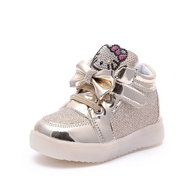 2016 Children Shoes Girls Led Shoes Cartoon Kt Cat Bow Children Sneakers With Light Led Emitting Lights Up Casual Shoes 21-25 - Deals Blast