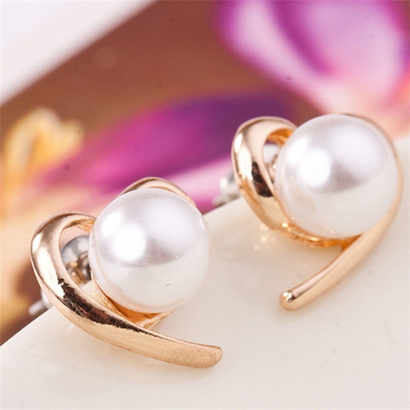 2016 New Fashion Jewelry Wholesale Factory Supplier Rose Gold Colour Pearl Stud Earrings For Women e0150 - Deals Blast