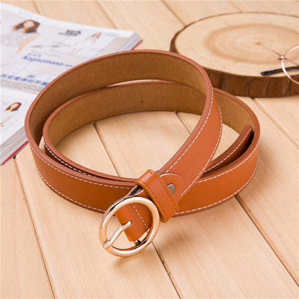 2.7*105CM Solid Wide Belts for Women 2017 High Quality Dress Accessories Round Buckle Ceinture Femme Faux PU Leather Belt Men - Deals Blast
