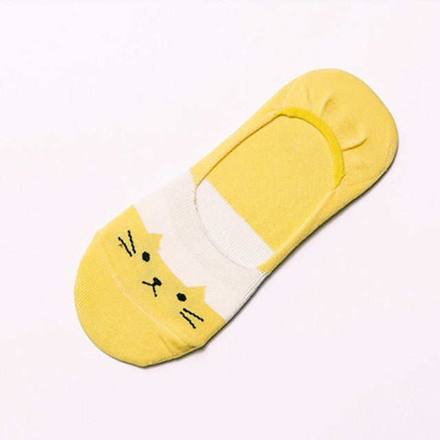 1Pairs Modern Soft Women Cotton Cartoon Cat Low Cut No Show Invisible Socks - Deals Blast