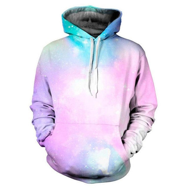 Space Galaxy 3d Sweatshirts Men/Women Hoodies With Hat Print Stars Nebula Autumn Winter Loose Thin Hooded Hoody Tops - Deals Blast