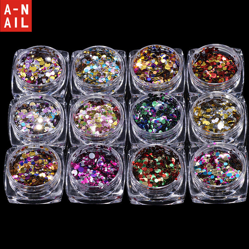 12 Nail Art Glitter ROUND Shapes Confetti Sequins Acrylic Tips UV Gel B Style Sale By 12jar/set - Deals Blast