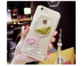 3D Liquid Quicksand Bling Rhinestone Wine Glass Pattern Phone Case with Hang Rope For iPhone 7/ 7 Plus,iPhone 5 5S SE / 6 6s / 6: Deals Blast