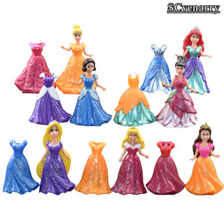 14pcs/set Princess Snow White Cinderella Mermaid Anime PVC Figure Set With Magic Clip Dress Baby Toy Toys For Girls 9cm - Deals Blast