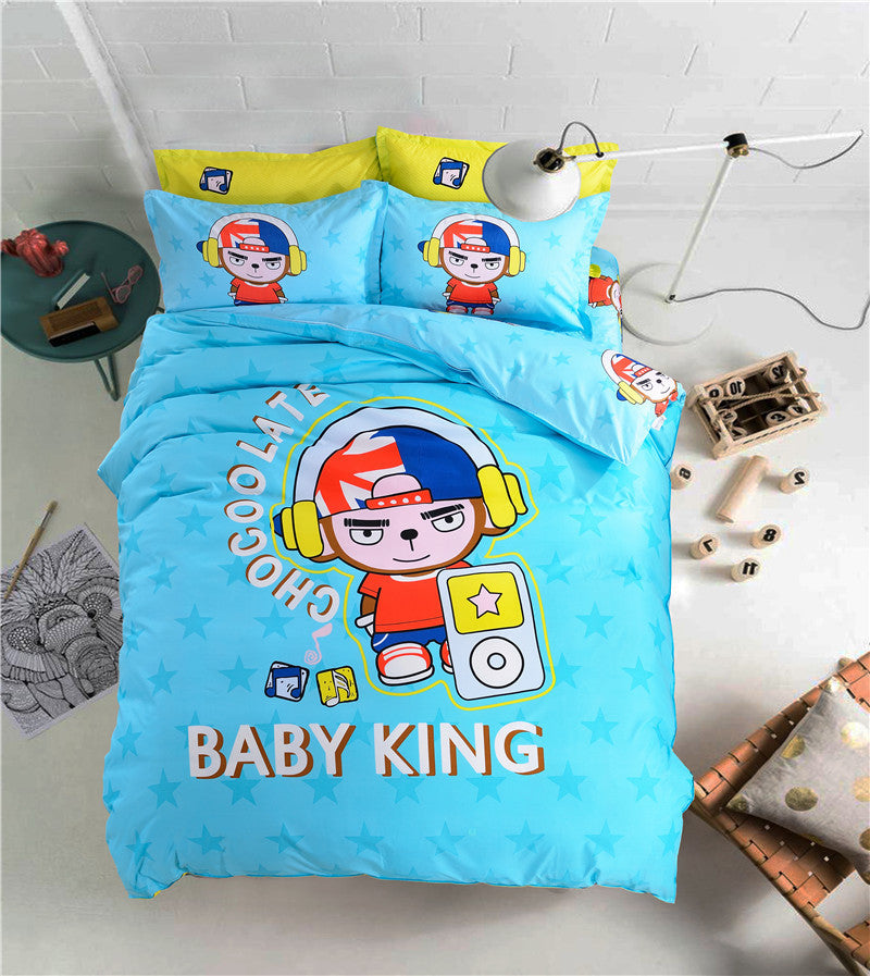 100% polyesterblue color Prince Music cartoon style pattern  student/child/adult Duvet Cover Bed Sheet  Bed Linen bedding sets - Deals Blast