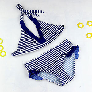 8-16Y Navy/Beach Baby Girl Bikini Swimsuits Child Bathing Set Stripe Halter Strap Falbala Swimwear Kids Biquini Infant GBSL01: Deals Blast