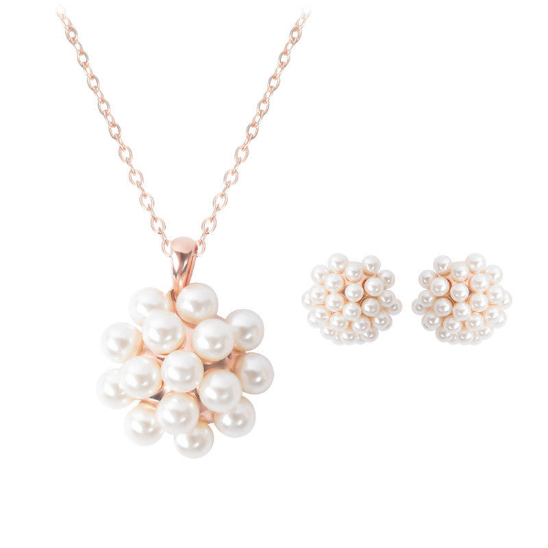 1set Fashion Imitation Pearl Jewelry Sets Women Bridal Wedding Gold color Jewlery Sets Necklace And Earrings Set - Deals Blast