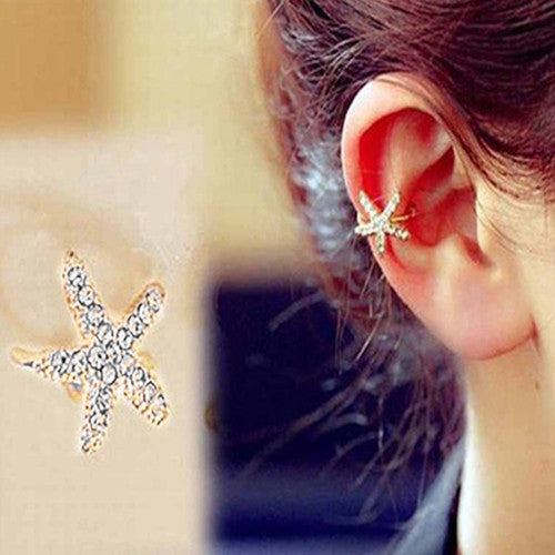 1 Piece Glitter Rhinestone Decor Cute Starfish Pattern Ear Stud Clip Cuff Earring Gift - Deals Blast