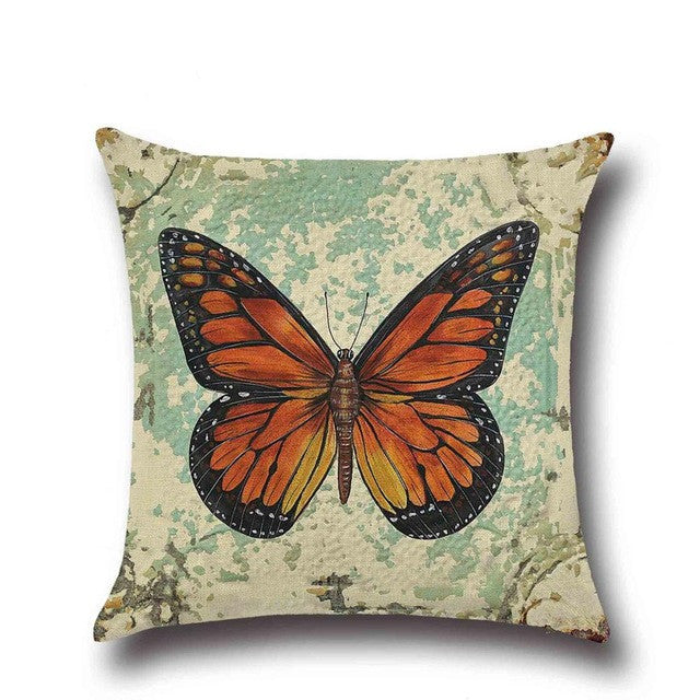 1 Pcs Butterfly Pattern Cotton Linen Throw Pillow Cushion Cover Seat Car Home Sofa Bed Decorative Pillowcase funda cojin - Deals Blast