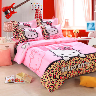Unihome Home textiles Children Cartoon Hello kitty kids bedding set, include duvet cover bed sheet pillowcase - Deals Blast