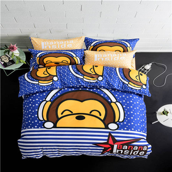 100% polyester Monkey Smile cartoon style pattern  student/child/adult queen/full/twin/size Duvet Cover Bed Sheet  Bed Linen - Deals Blast