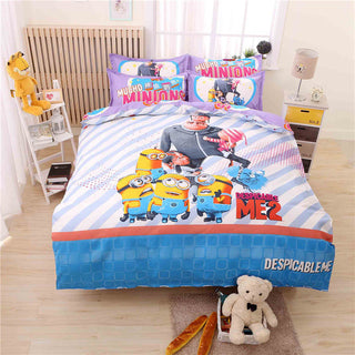 Cartoon Minions Bedding Set for Kids Doraemon Bed Linen 3-4pcs Bedding Duvet Cover Bed Sheet Pillowcase Queen Size Free Shipping - Deals Blast