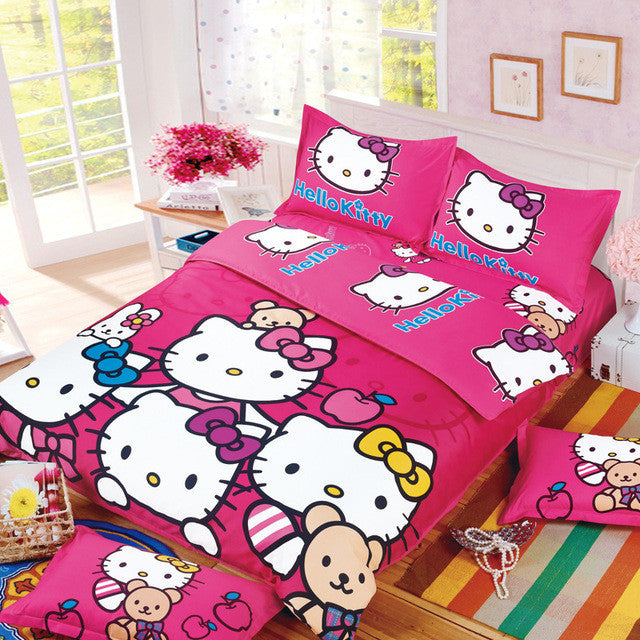 b427c8591 Hello Kitty Bedding Set 3/4pcs Bed Set Include Duvet Cover Bed Sheet  Pillowcase for