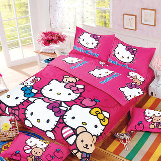 Hello Kitty Bedding Set 3/4pcs Bed Set Include Duvet Cover Bed Sheet Pillowcase for Children Kids Twin Queen Size Free Shipping - Deals Blast
