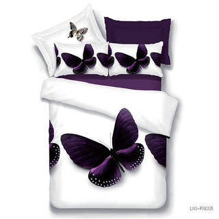 Home textiles 4pcs family set polyester 3d bedding set queen size butterfly design include pillowcase duvet cover bed sheet - Deals Blast