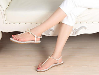 f9a6b729bc1957 Brand women s sandals 2017 summer beaded stone pearl female sandals Rome  flat sandwich toe women s sandals