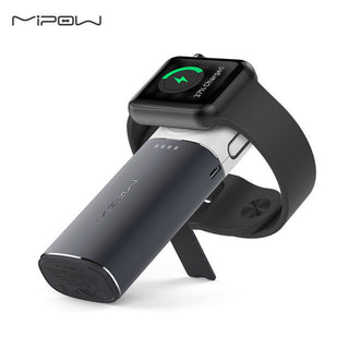 MIPOW MFi Certified Portable Magnetic Charging Dock Holder Stand Charger for Apple Watch Built-in USB Cable iPhone 7 Power Bank - Deals Blast