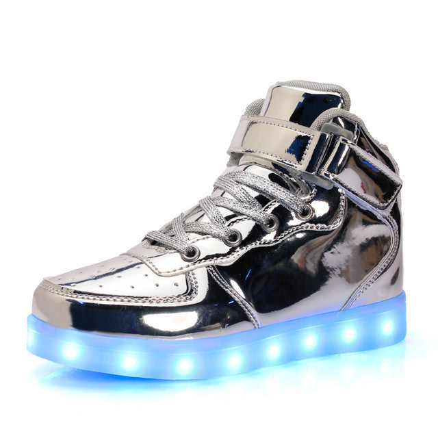 2017 Baby Girls Boys LED Light Sneakers Colorful USB Charging for Kids Flashing Casual Flat students children Luminous Shoes - Deals Blast