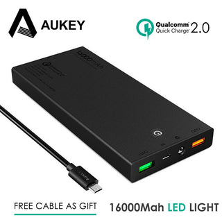 Aukey Mini 16000mAh Power Bank 12V Portable Quick Charge 2.0 External Battery for Xiaomi iPhone Samsung Dual Usb Quick Charger: Deals Blast