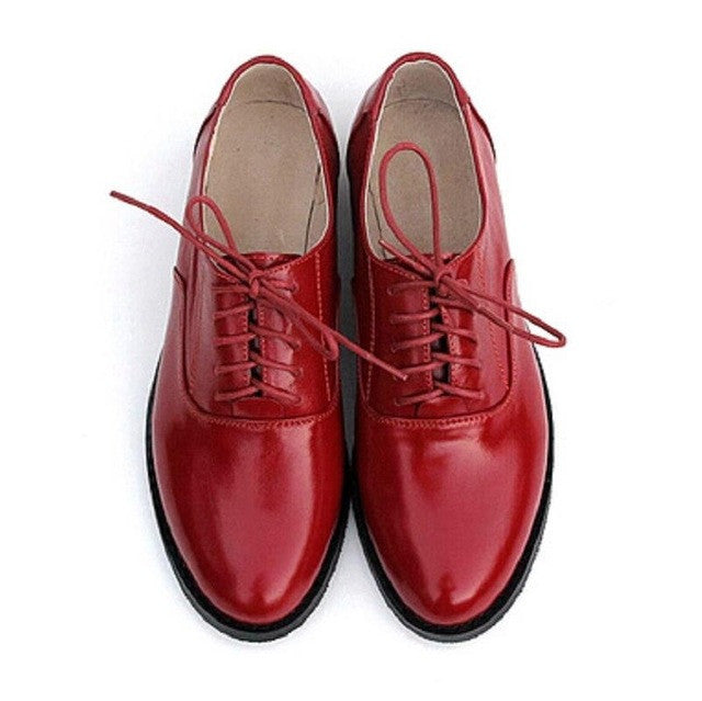 99cf266e09786 Brand Red Oxford Shoes For Women Flats 2017 Fashion Brogue Oxford Women  Shoes moccasins zapatos mujer