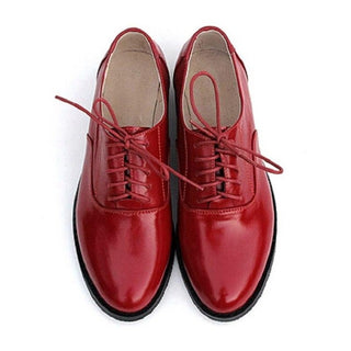 Brand Red Oxford Shoes For Women Flats 2017 Fashion Brogue Oxford Women Shoes moccasins zapatos mujer Genuine Leather Shoes - Deals Blast