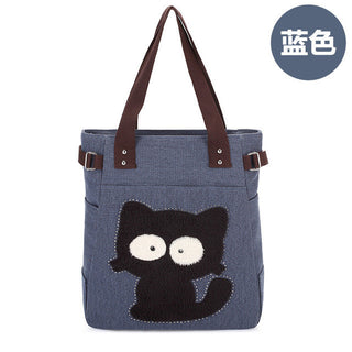 Cartoon cat printed beach tote bag zip Petite canvas tote shopping handbags sac Capacity Women Beach Tote Women Canvas - Deals Blast