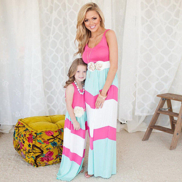 2017 Fashion Mother Daughter Matching Long Dress Sleeveless Colorful Boho Style Family Flare Dress Sundress Summer - Deals Blast