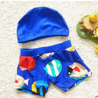 Novel Cartoons Swimwear Boys Swimming Shorts Trunks for Kids Clothes Baby Bathing Suits W/Cap Children Clothes - Deals Blast