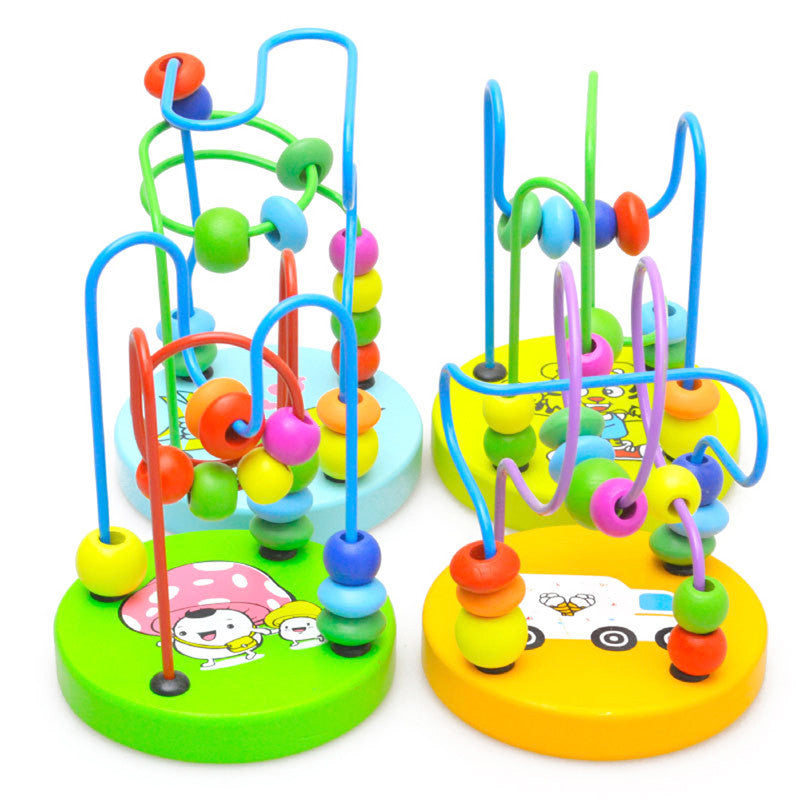 1Pcs Early Learning Toy Children Kids Baby Colorful Wooden Mini Around Beads Educational Mathematics Toy Random Color - Deals Blast