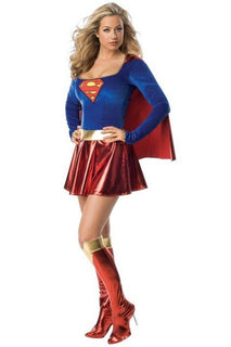Sexy Slim Superwoman Halloween Cosplay Costume Wonder Woman Costume Long Sleeve Dress With Shawl + Boot Cover Adult Uniforms - Deals Blast